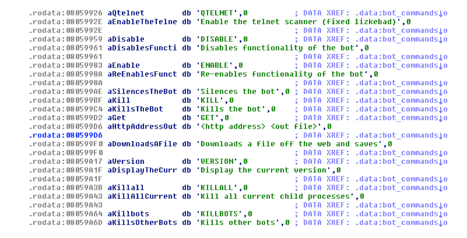 Figure 12 - Telnet scanning, downloading a file, killing other bots