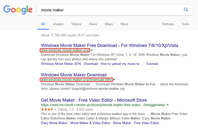 Windows movie maker scam sneaked into google search results.