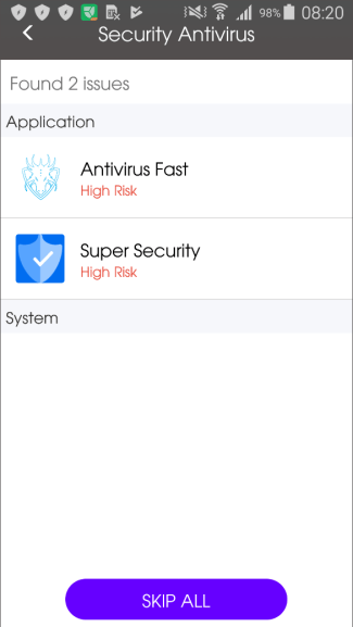 Figure 2 – One of the 35 apps detecting other, similar apps as 'High Risk'