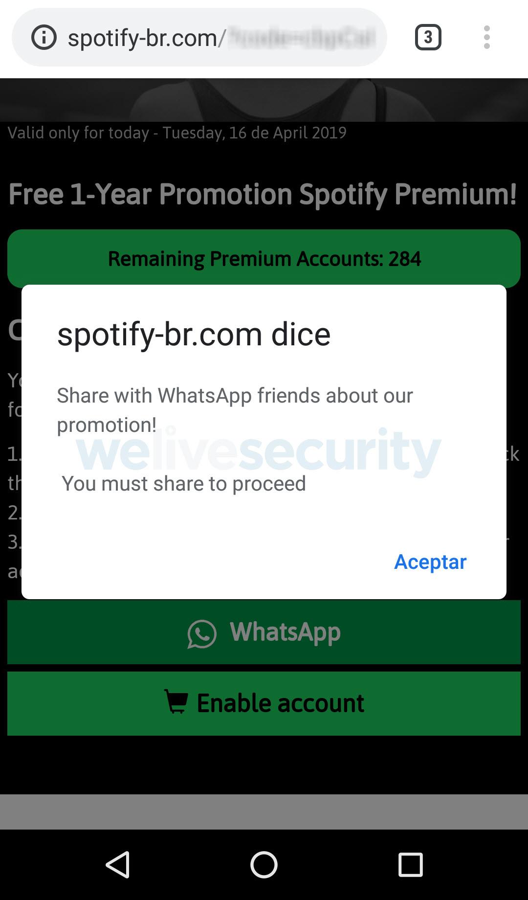 Imagen 4 – Si desea saltar los pasos y directamente activar el beneficio, un mensaje recordará que primero deberá compartir la promoción a sus contactos de WhatsApp.