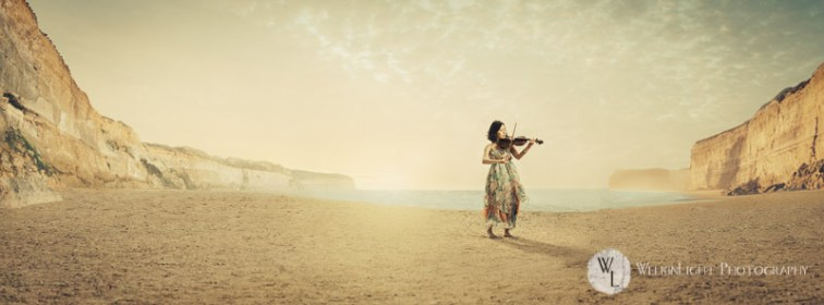 Violin on Beach - Seoul Photographer