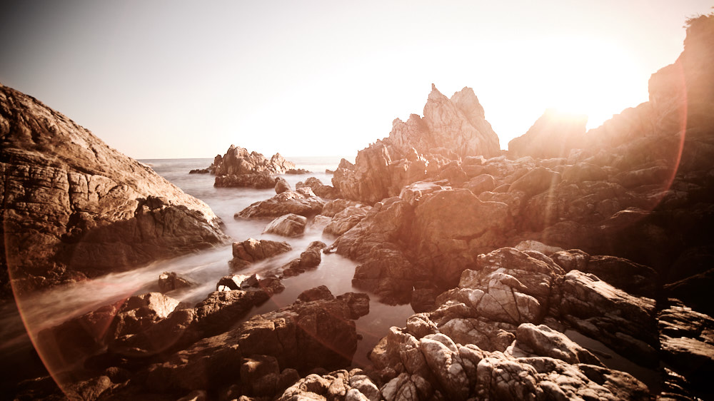 Gangwondo Rocky Coast Sunrise with Laowa 9mm f/2.8 Flare