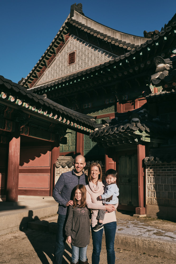 The DeVito family at Changdeokgung in Seoul