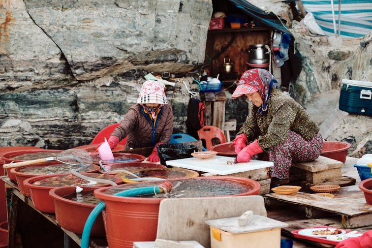 Ocean-worn Grannies at the Haenyeo Restaurant