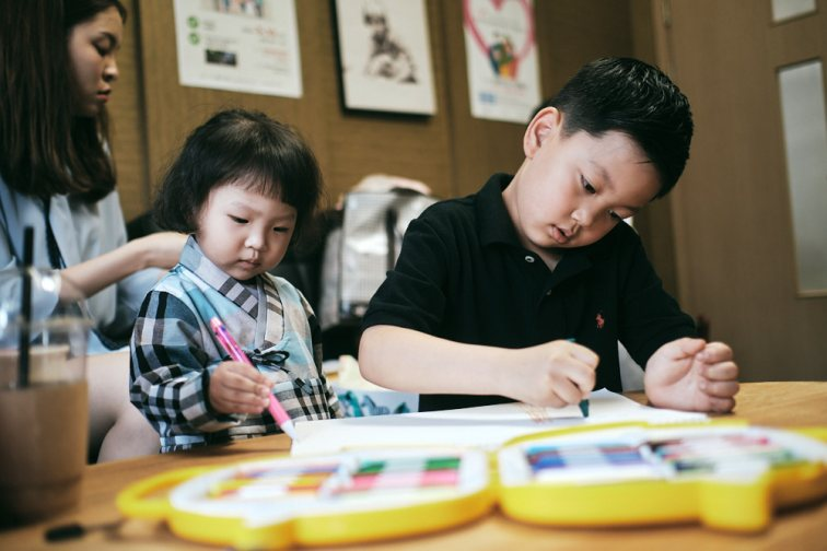 Brother and Sister Colour Together - Korea Adoption Custody Photography