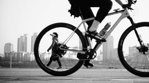 Woman Through Wheel - Ttukseom Park - Han River Bicycle Path