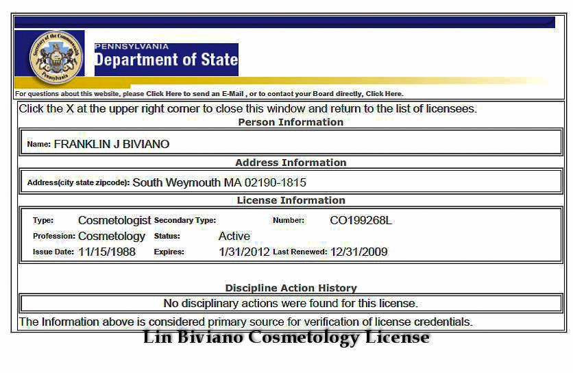 Lin Biviano Cosmetology License