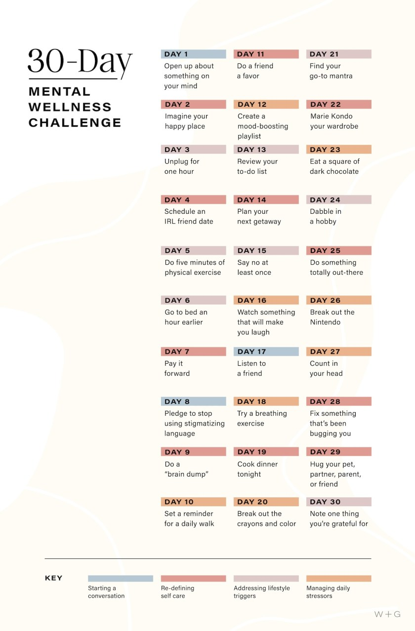 mental health challenge graphic text