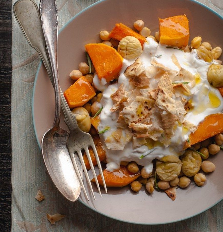 butternut squash and chickpea yogurt crumble