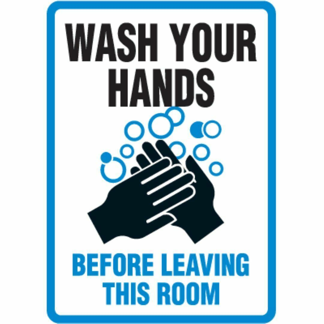 Wash Your Hands Warning Sign Sticker Self Adhesive Vinyl