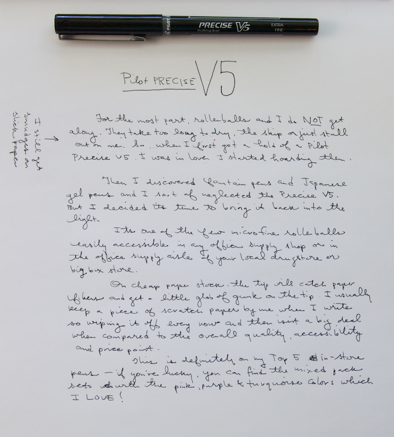 Pilot Precise V5 writing sample