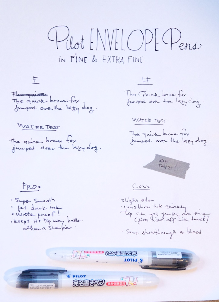 Pilot Envelope Pen Writing Sample