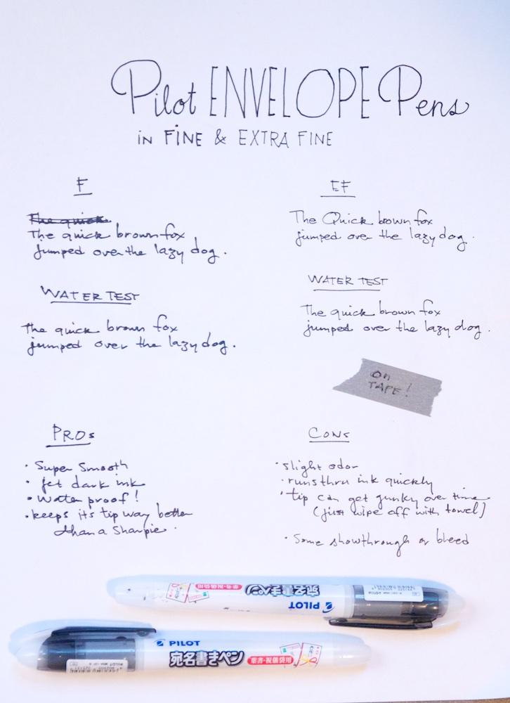 Pilot Envelope Pen Writing Sample