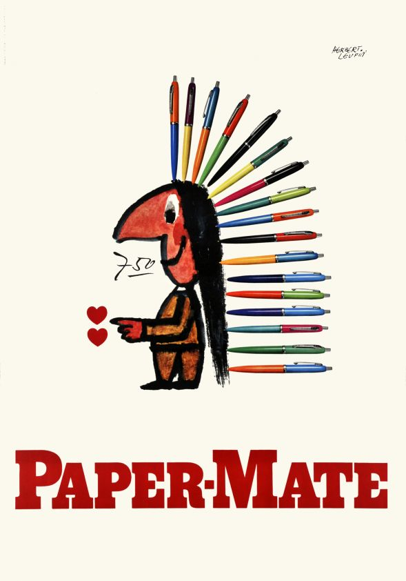 """Paper-Mate pen, Sioux boy with a sioux war bonnet made of pens instead of real eagle-feather. Beautifully printed in stone-lithography. Herbert Leupin was one of the leader of the Basel school and the hyperrealism style, also called """"SachPlakat""""."""