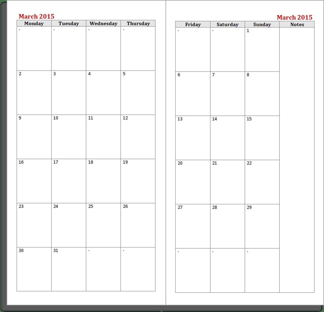 MTN 2015 calendar printable inserts