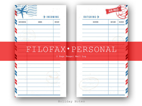 Filofax personal pen pal mail log