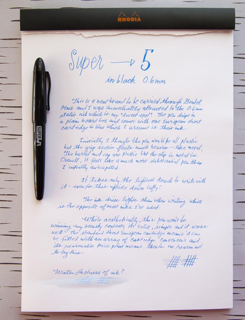 super5 writing sample