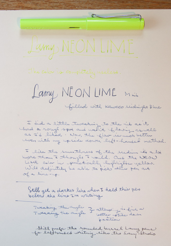 Lamy Neon Lime writing sample
