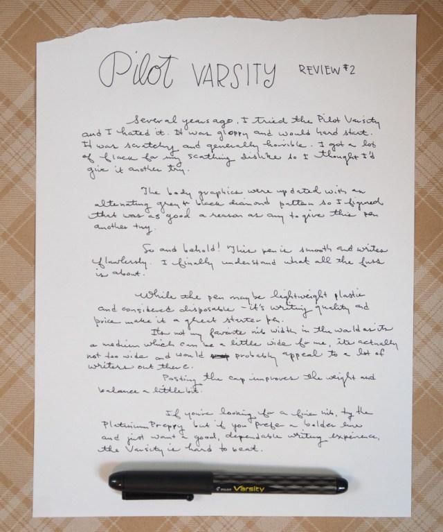 Pilot Varsity Writing Sample