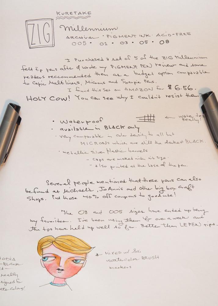 Kuretake Zig Millennium Pen Writing Samples