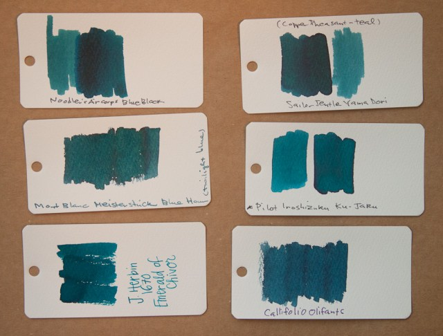 J. Herbin 1670 Emerald of Chivor ink comparison