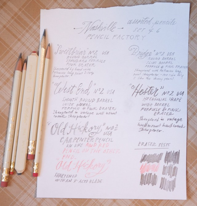 Pencil Factory Nashville Pencil Set Writing Sample