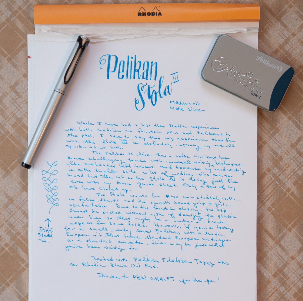 Pelikan Stola III writing sample