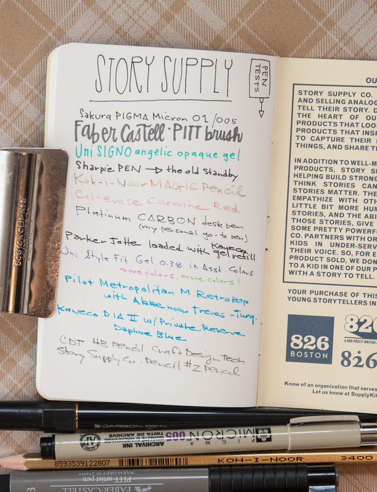 Story Supply Co. notebook writing sample