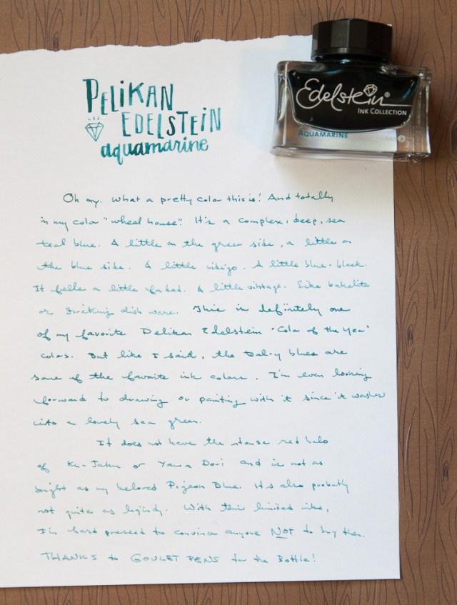 Pelikan Edelstein Aquamarine ink writing sample