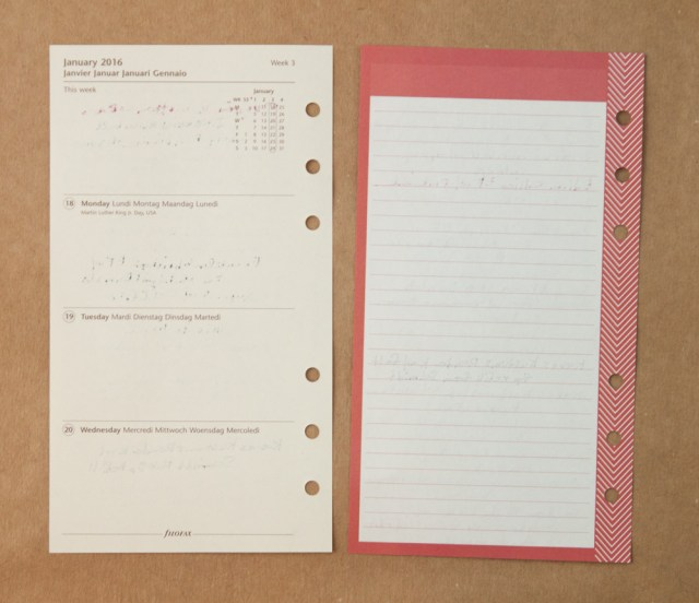reverse side of Filofax stripes insert writing test