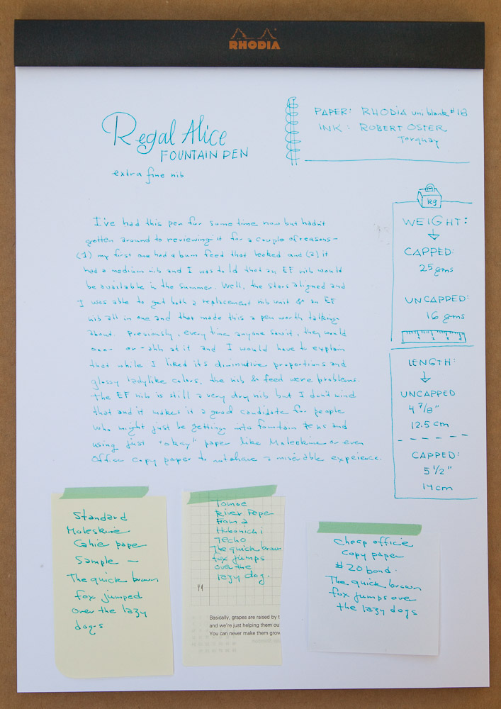 regal alice fountain pen writing sample