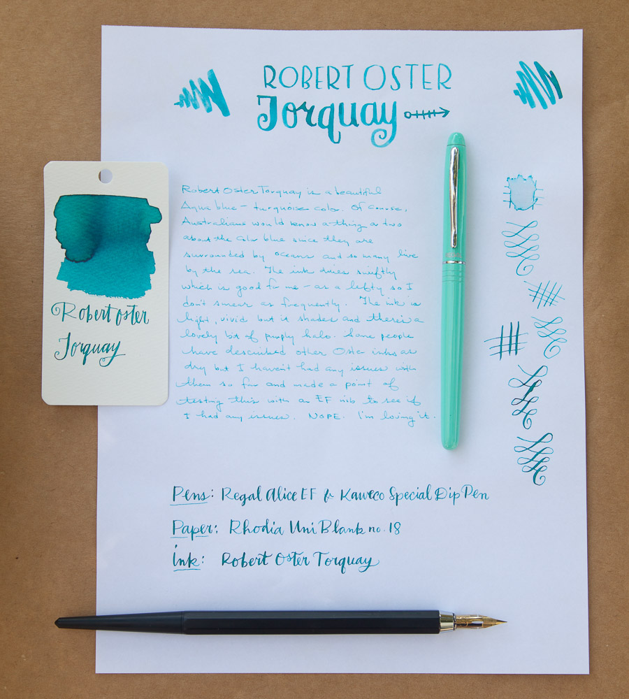 Robert Oster Torquay writing sample