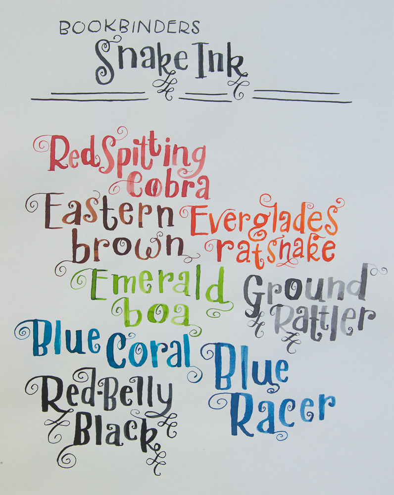 Bookbinders snake ink writing sample