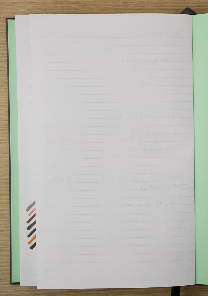 Pen & Pencil tests Moo Notebook white paper reverse of stock