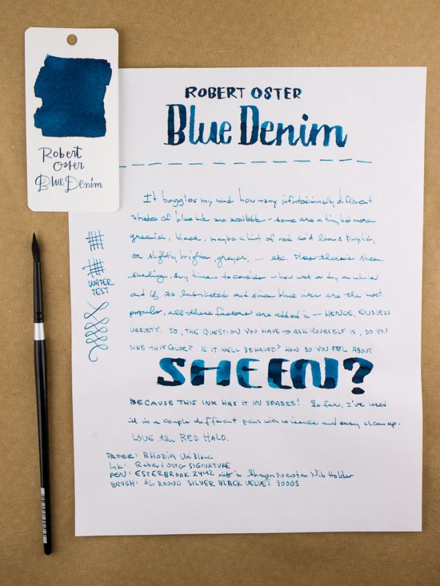 Robert Oster Blue Denim Writing Sample