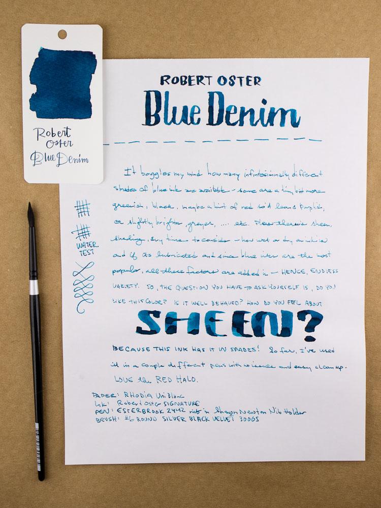 Robert Oster Blue Denim Writing Sample