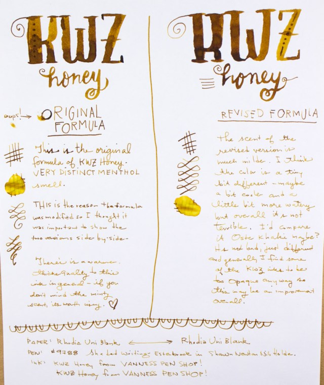 KWZ Honey (old and new formula) writing sample