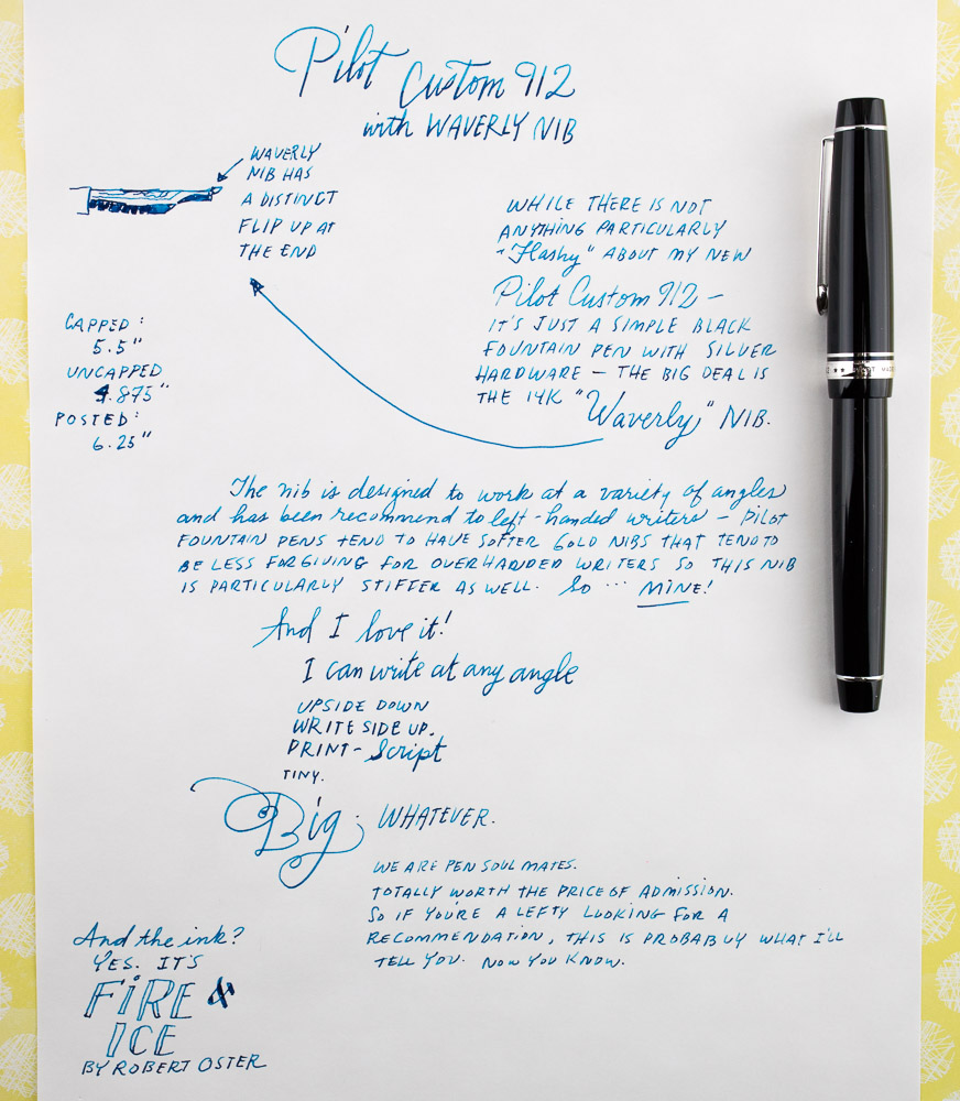 Pilot Custom 912 Waverly writing sample