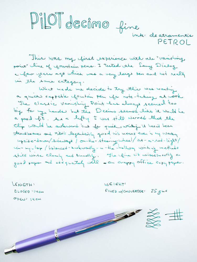 Pilot Decimo Fountain Pen Writing Sample