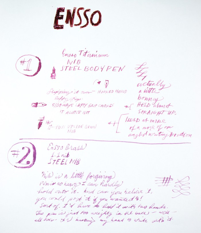 PIUMA Minimal fountain pens writing sample