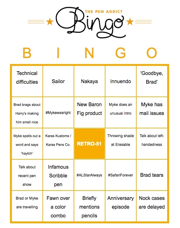 Pen Addict Bingo!