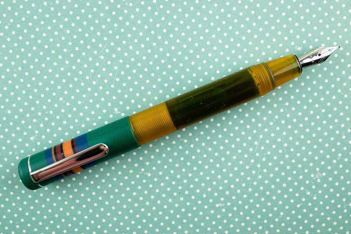 Opus 88 Fantasia Green Orange Fountain Pen