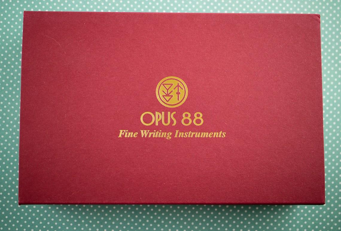 Opus 88 Fantasia Green Orange Fountain Pen Packaging