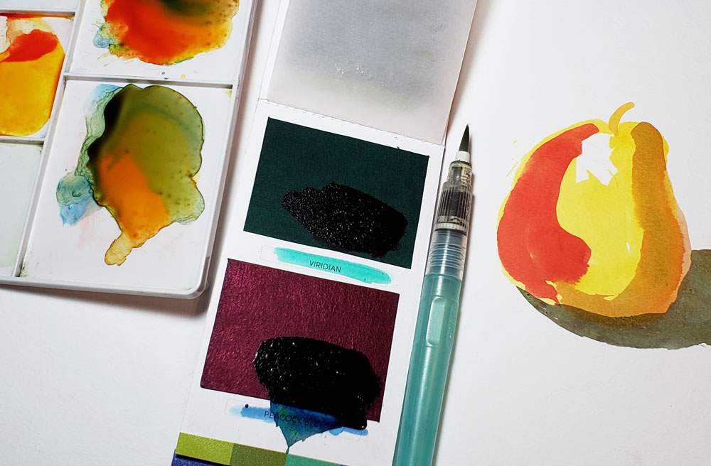 mixing palette, paint, waterbrush