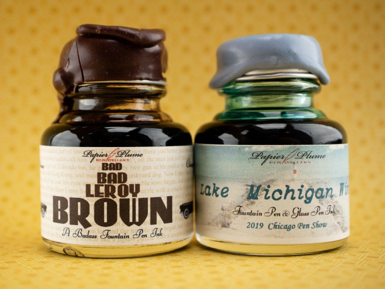 Eye Candy: Papier Plume Bad Bad LeRoy Brown & Lake Michigan Winter (Chicago Pen Show 2019 LE Inks)