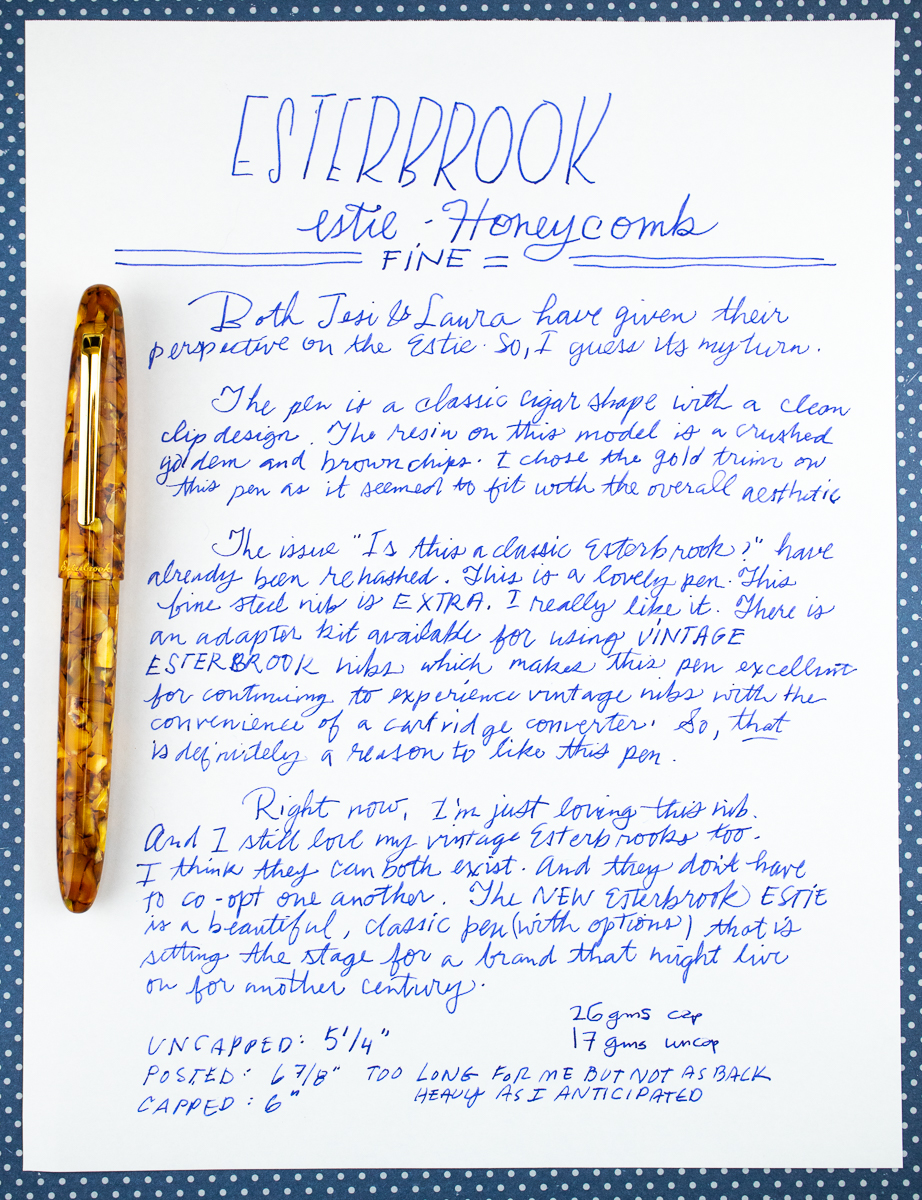 Esterbrook Estie Honeycomb writing sample