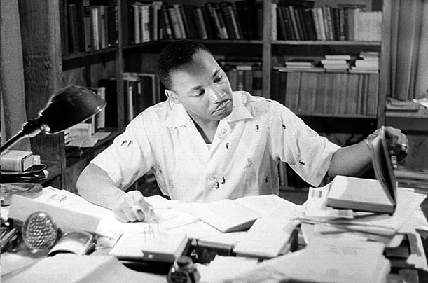 Martin Luther King Jr in his office