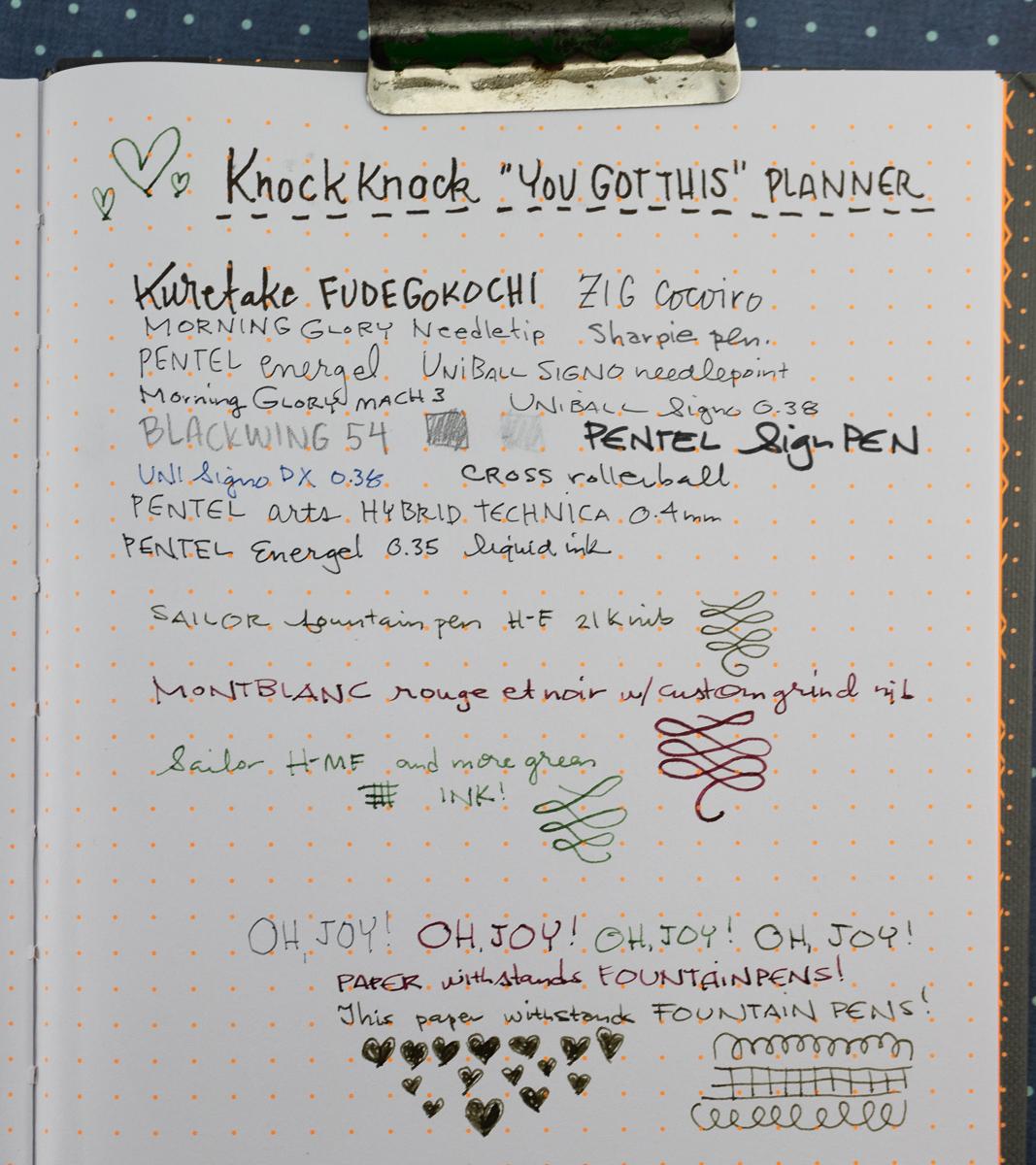 Knock Knock planner writing sample