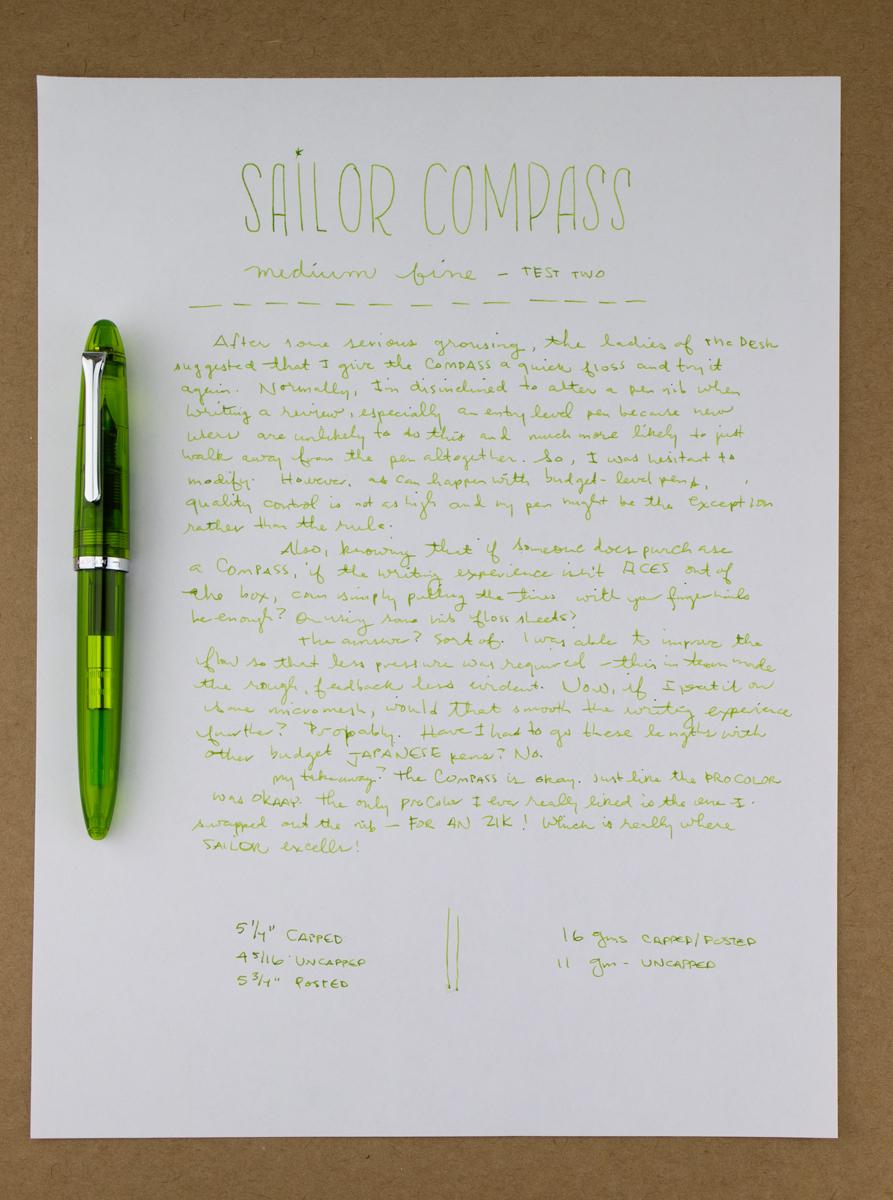 Sailor Compass writing sample