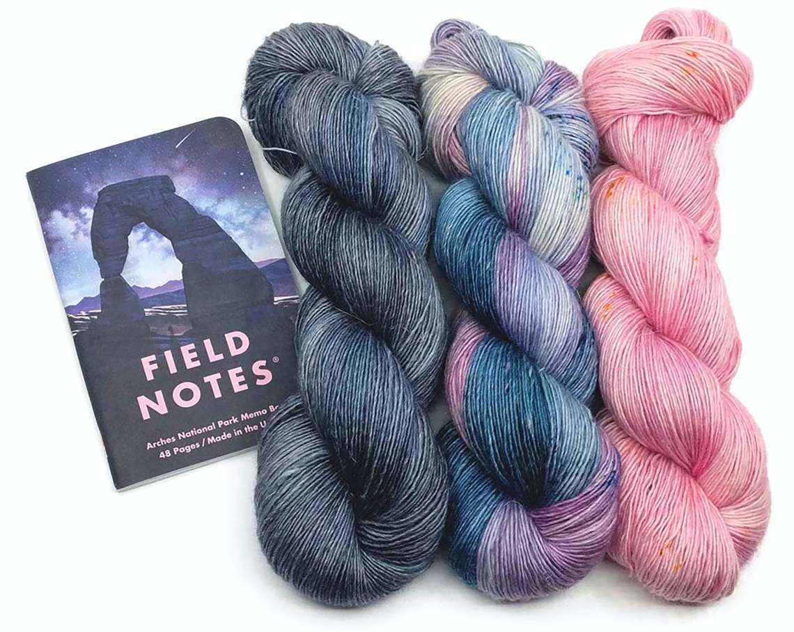 Yarn matched to Field Notes National Parks edition